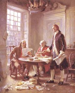 Franklin, Adans y Jefferson repasando el borrador de la Declaración de independencia de los USA