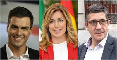 Susana, Patxi y Pedro Sánchez, tres ruedas para un carro roto