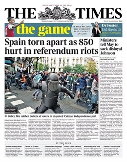 Las cargas policiales en Cataluña son hoy portada en el mundo
