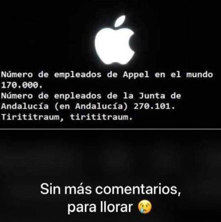 Uno de los muchos mensajes que circulan por Internet a raíz del cambio en Andalucia