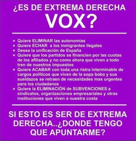 VOX le tiene miedo a VOX y teme ganar las elecciones
