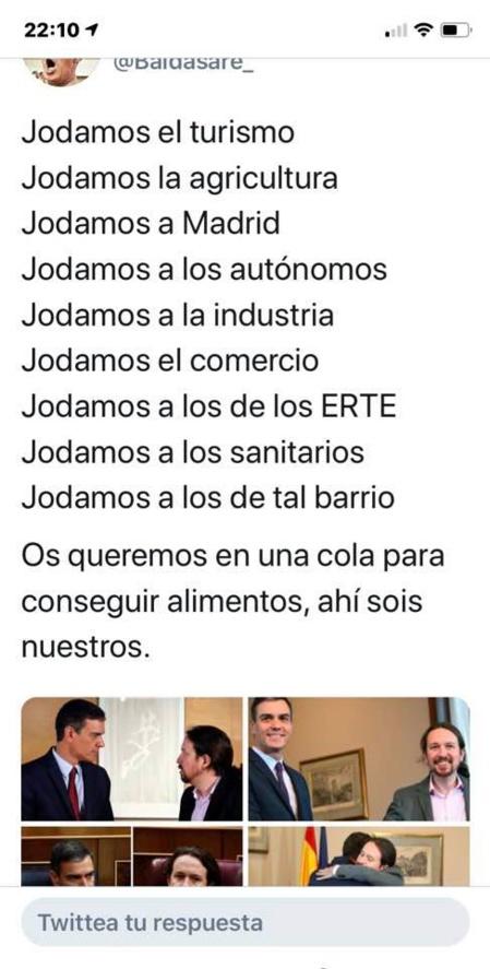 Imagen que circula por internet, de forma viral, denunciando la destrucción de la economía española