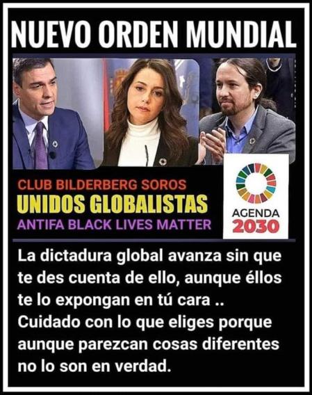 Una de las múltiples imágenes que circulan por las redes denunciando la estafa de las izquierdas, que operan como agentes del globalismo