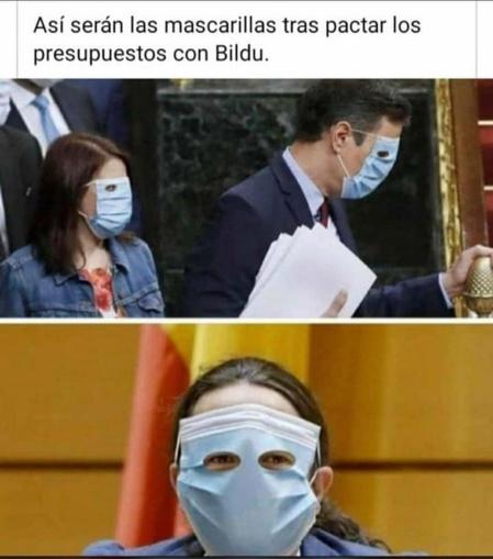 Imagen viral que circula donde aparecen Pedro Sánchez y Pablo Iglesias con mascarillas modelo ETA