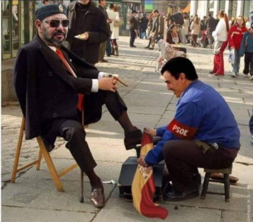 Una de las muchas imágenes que circulan por internet, en España, riduculizando el papel de Pedro Sánchez en el conflicto con Marruecos