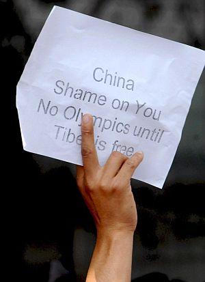 Manifestante por la libertad en Tibet