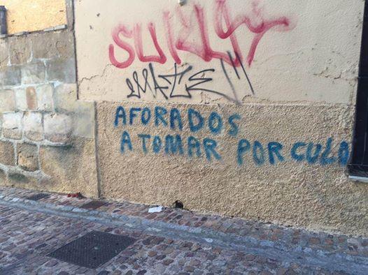 Pintada callejera en la ciudad de Zamora