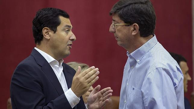Juanma Moreno, del PP, y Juan Marín, de Ciudadanos