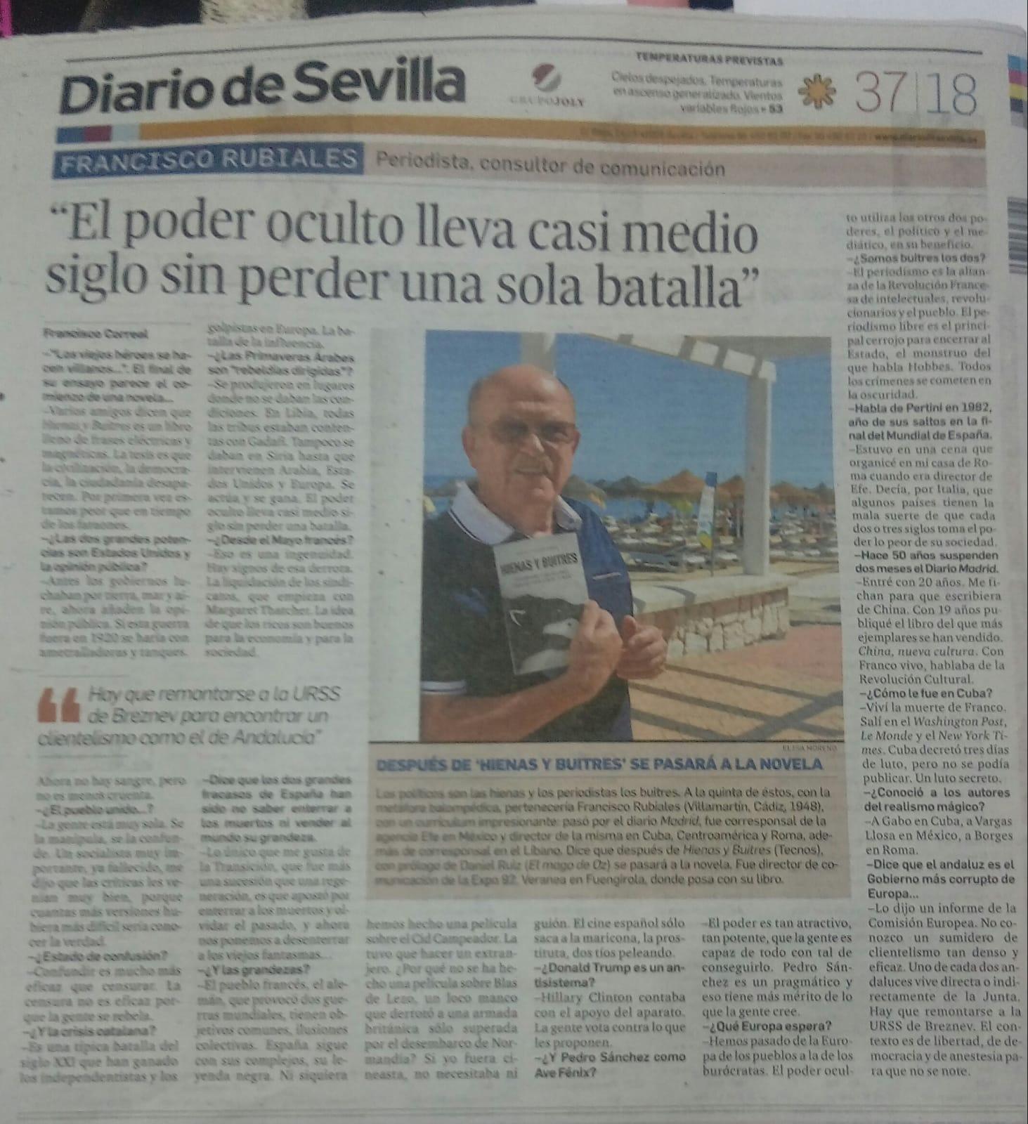 """FRANCISCO RUBIALES:  """"El poder oculto lleva casi medio siglo sin perder una sola batalla"""""""