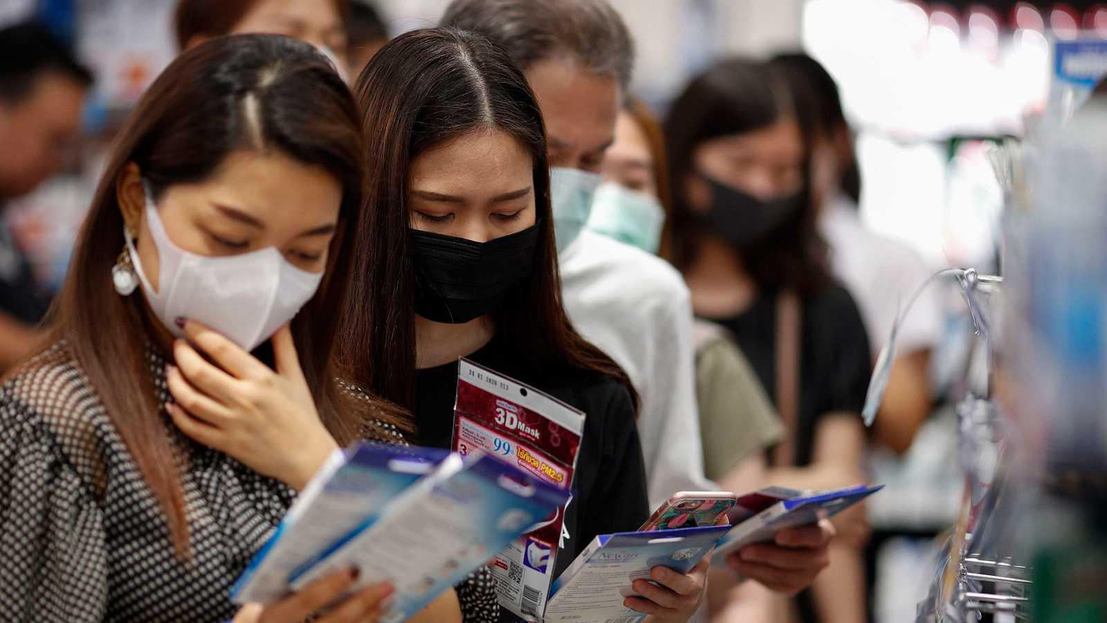 Comprando máscaras protectoras