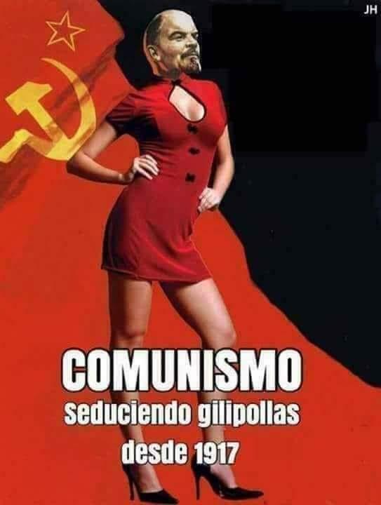 Uno de los memes que circulan por Internet denunciando el avance de España hacia el comunismo, de la mano de Pedro Sánchez y Pablo Iglesias