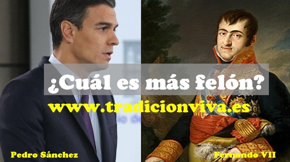 Una de las imágenes que equipara a Pedro Sánchez con el rey felón Fernando VII