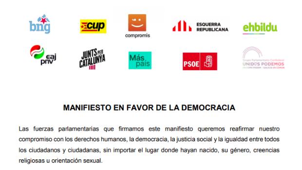 """La gran estafa y el enorme peligro del """"Manifiesto en favor de la democracia"""""""
