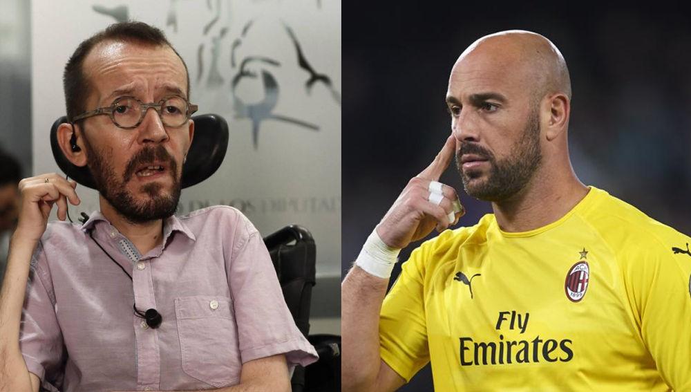 "Indignado, el portero de fútbol Pepe Reina acusa al podemita Echenique: ""No tenéis respeto ni vergüenza""."