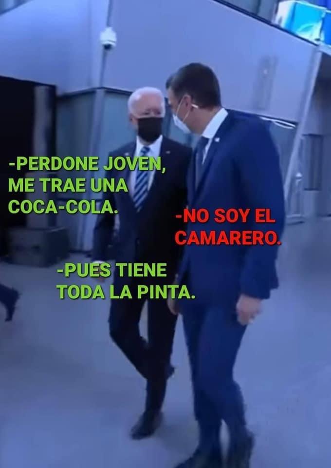 Una de las muchas imágenes que circulan por España ridiculizando a Pedro Sánchez tras su humillante encuentro con Joe Biden