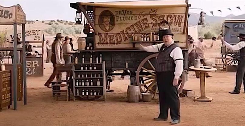 Vendedor-estafador de aceite de serpiente en el Lejano Oeste
