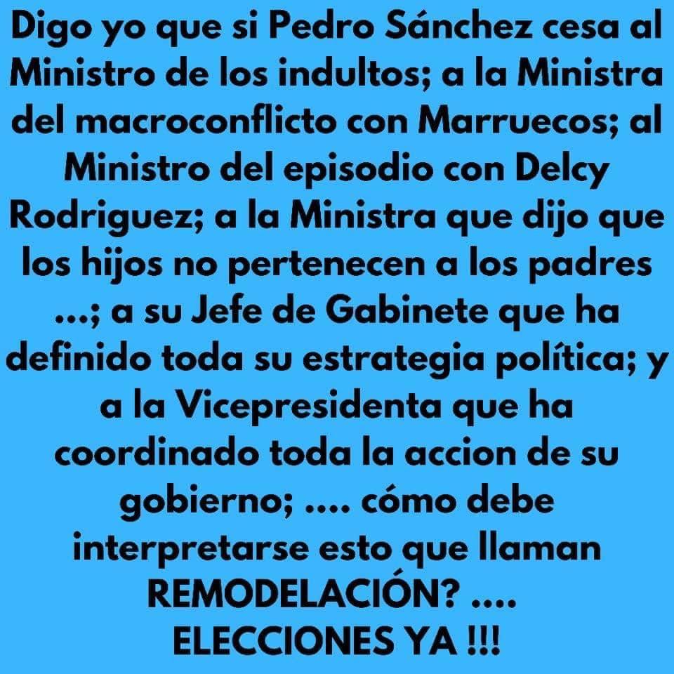Uno de los miles de memes que circulan por las redes ridiculizando la crisis de gobierno y lamentando que el fracasado Sánchez no haga lo que millones de españoles esperan: dimitir y convocar elecciones