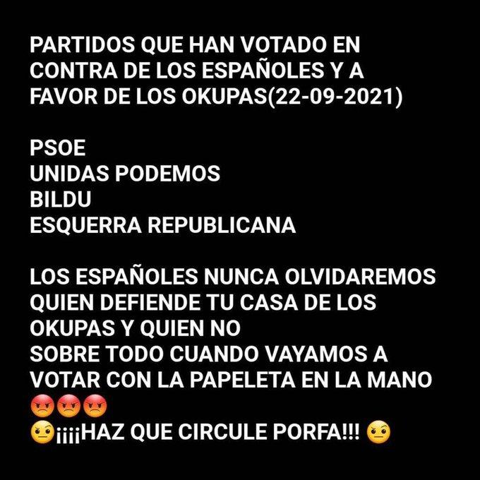 Los partidos que apoyan a los okupas deben ser castigados en las urnas