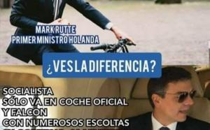 La luz frente a las tinieblas, el ejemplo frente al abuso, el rigor se enfrenta al despilfarro. Imagen que circula por las redes en España, que compara al holandés con el español.