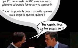 Una de las muchas imágenes que se han hecho virales en España, reflejando el rechazo a Pedro Sánchez y el deseo de que Europa frene sus abusos y desmanes